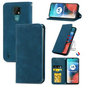 For Motorola MOTO E7 Skin Feel Magnetic Flip Stand With Slot Leather Phone Case