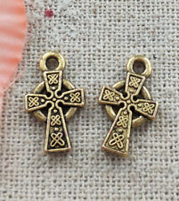 Free ship 520 pieces gold plated cross charms 15x9mm L4921