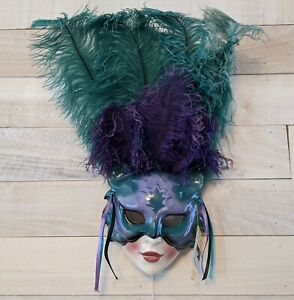 """Vtg Clay Art Theater Mask Cats Purple Green Feathers Wall Music Box """"Memories"""""""