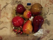 Artificial Fake Faux Assorted Plastic Fruit with straw bedding, apples, pears