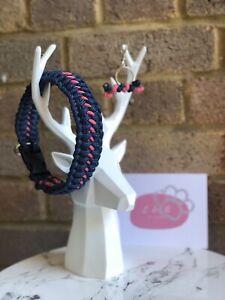 Handmade Navy & Pink Paracord Dog Collar | 14.5 Inch