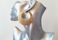 "Gorgeous gold tone patterned creole style hoop earrings, 6cm - 2.4"" * NEW IN *"