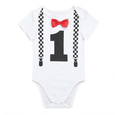 Infant Baby Boy Girl 1st Birthday Romper Cotton Bodysuit Party Clothes Outfit