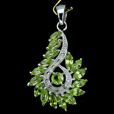 BEWITCHING! NATURAL TOP GREEN PERIDOT-WHITE TOPAZ STERLING 925 SILVER PENDANT