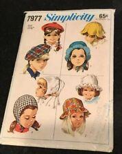 Vtg 60's Simplicity 7977 HATS Sewing Pattern Child Girl BERET PETAL JOCKEY CAPS