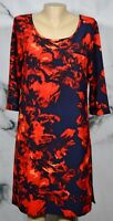 MERONA Black Blue Red Patterned Dress Medium 3/4 Sleeves Unlined Above Knee