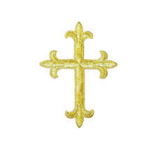 """4"""" (102mm) Embroidered Cross Iron On Applique"""