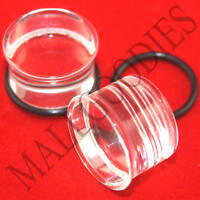 "1335 Acrylic Single Flare Clear 5/8"" inch Plugs 16mm MallGoodies 1 Pair (2pcs)"
