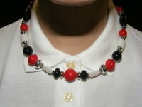 Vintage Necklace Red White Black Silver Beads