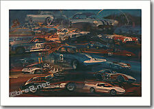 """REDUCED Corvette Race Cars 25""""x17.5"""" signed by artist George Bartell"""