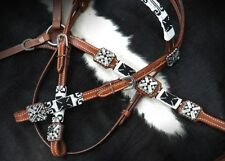 Showman LIMITED EDITION BLACK & WHITE Beaded Headstall/Breast Collar Set! NEW!!