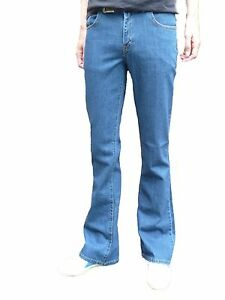 Mens blue boot cut bootcut vtg jeans retro flares indie denim hippy 30 32 34 36