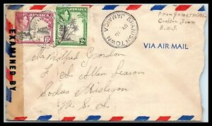 1940s JAMAICA Cover - EXAMINED - Spanish Town to Sodus, Michigan USA H4