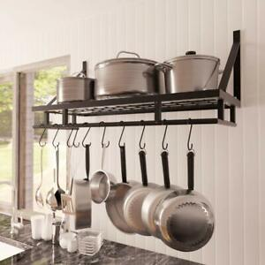 Kitchen Hanging Pot Pan Rack Iron Storage Holder Wall Utensils Organizer 90 CM