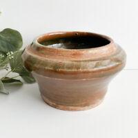 Rustic Ceramic Bud Vase Planter Brown Neutral Spotted Vessel Handmade Pottery