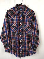 Wrangler Men's Plaid Multi-color Pearl Snap Button Dress Shirt Sz XL