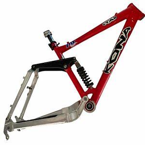 "Kona Stab 2001 Downhill Mountain Bike 18"" Frame Fox Shock Swingarm Red Vintage"