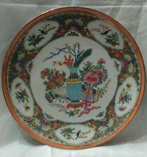 Assiette, Porcelaine, Chine, décor fleurs Lotus, Oiseaux, Papillons