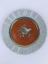 ROYAL COPENHAGEN THORKILD OLSEN Orange Crackle Plate #4022 ca.1950-60 Bird
