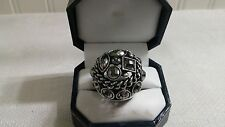 Vintage Silvertone Metal Faux Marcasite Glass Bead Domed Cocktail Ring Size 6.75