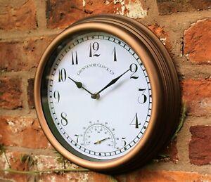 Garden Station Wall Clock Indoor Outdoor Copper effect Temperature 26cm