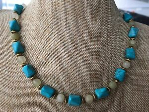 Handmade Necklace of Turquoise Magnesite and Pale Green Italian Onyx Stone Beads