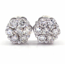 Cluster Very Good Cut Fine Diamond Earrings