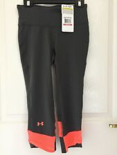 Under Armour Leggings Capri Heat Gear Fly By Grey Orange Womens XS Extra Small 3