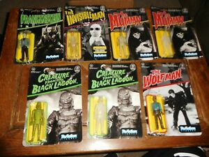 Universal Monsters Reaction Figures Lot x7 Mummy Creature Wolf Invisible Man