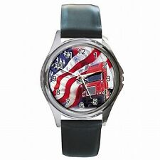 Truck Driver American Trucker USA Flag Leather Watch New!