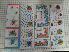 24 Pcs Lot Women Vintage Repro Cotton Hankies Floral Handkerchief Nip Quilting