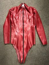 Gorgeous Latex rubber Zip Breast Leotard RED size 12 UK RRP £186.00