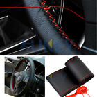 DIY Car Steering Wheel Cover With Needles Thread Black/Red Genuine Leather Sport