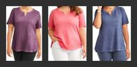 NEW 3X Terra & Sky Split Neck Tee Generous Fit Lightweight Womens Plus