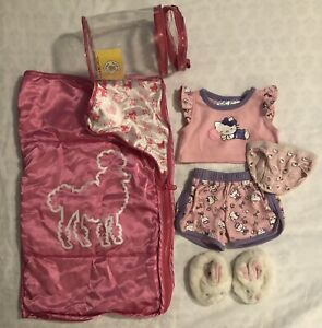 BABW Build a Bear Accessories Sleeping Bag, HELLO KITTY Pajamas, Bunny Slippers