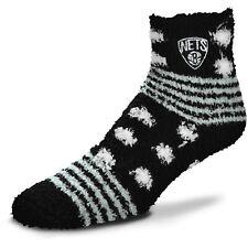 Brooklyn Nets Basketball For Bare Feet Homegator Black Fuzzy Socks