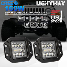 2x 4inch 160W CREE LED Work Light Pods Flush Mount Combo Driving Lamp 12V 24V 5""