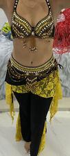 Belly Dance Costume Tribal Yellow & Black Bra, Belt, & Pants
