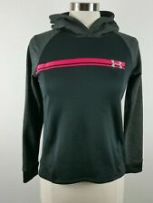 Under Armour Girls Polyester Loose Fit LS Black Gray Hoodie Sweatshirt Youth L
