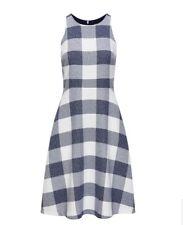 Banana Republic Dress Gingham Tweed Fit & Flare Blue Gray White Sleeveless Nwt