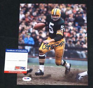 PAUL HORNUNG Signed Green Bay Packers football 8x10 photo + PSA COA AB31533