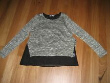 LADIES BLACK  MULTI COLOUR 2 LAYER KNIT LONG SLEEVE TOP BY TEMT- SIZE S 10/12