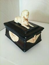 Antique Vintage Czech Porcelain Eichwald Majolica Box Egyptian Revival Sphinx