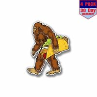 Bigfoot With Taco 4 Stickers 4X4 Inch Sticker Decal