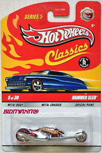 HOT WHEELS CLASSICS SERIES 5 #5/30 HAMMER SLED RED CHASE W+
