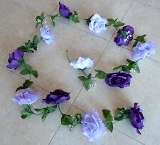 Rosengirlande  flieder/ lila   ca.2,50  cm Kunstblumen -Seidenblumen