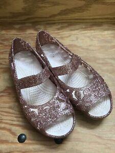 CROCS Isabella Jelly Flats Pink Sparkle Flower Cutout Shoes Girls Size 13 VGUC