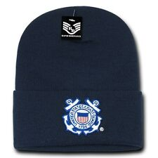 Blue United States US Coast Guard USCG Long Cuff Winter Knit Beanie Beanies