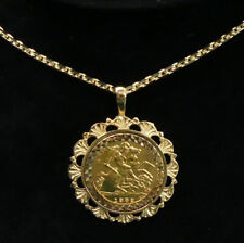 More details for fine 1982 1/2 sovereign in a 9 ct mount on a 60 cm 9 ct chain - 16.4 grams