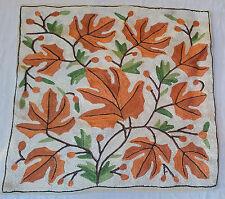 "SILK Fall Leaves 15"" ARI All Crewel Chain-Stitch Embroidery Pillow-Case Kashmir"